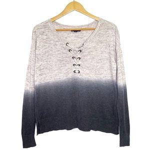 Ombré Oversize Knit Sweater AEO in Gray Black
